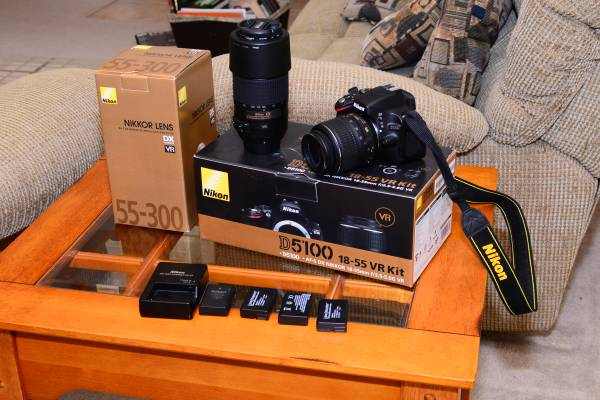 Nikon D5100 Kit and Nikkor 55-300mm Lens - $950 (katy tx)