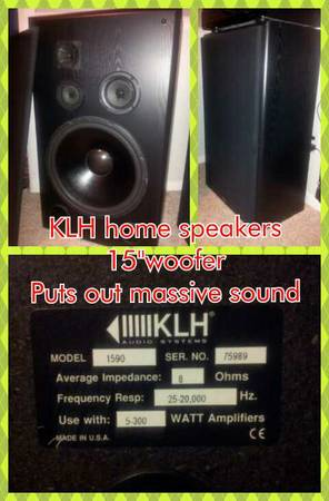 (2) KLH 15home speakers - $80 (Angleton Tx.)