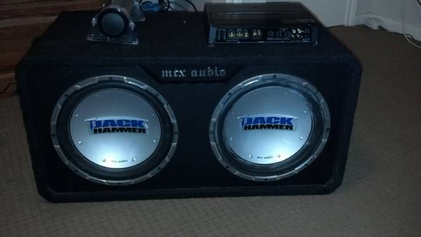 Two 12 inch MTX Jackhammer Subwoofers with box, 1000 Watt Kenwood - $350 (sugarland)