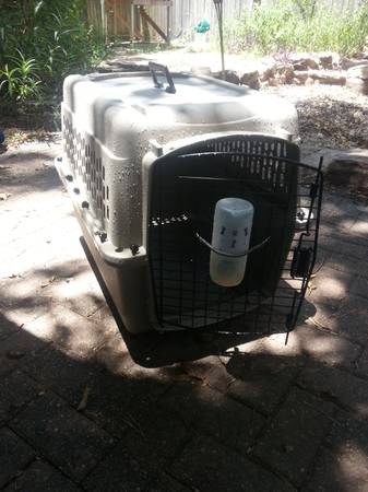 dog kennel, food container, brush and tie in - $45 (196045)