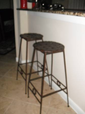 Industrial Chic Woven Metal Barstools (2) - x002475 (Conroe)