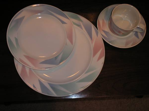Mikasa Intaglio Fantazz China (pastels) - set of 8  serving pieces - $120 (Spring)