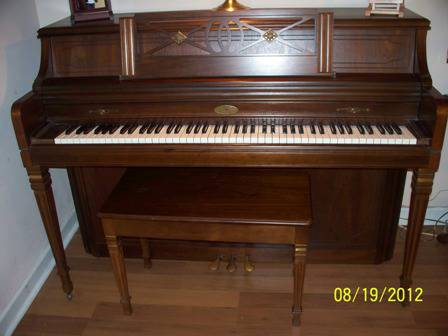 Wurlitzer console piano wmatching bench - $795 (N. W. Houston area)