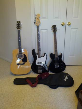 Washburn WI14, Squier Jazz Bass, Rogue Acoustic Guitar $230 OBO - $230 (The Woodlands)
