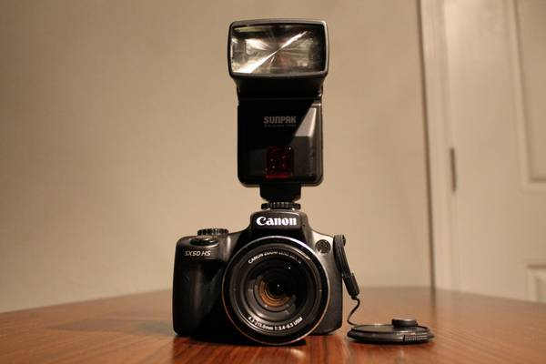 Canon PowerShot SX50 HS with Sunpak Digiflash 3000 - $250 (1960 and TC Jester)
