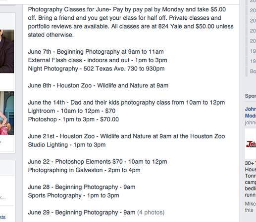 Photography Classes for June -   x0024 50  824 Yale