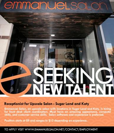 Receptionist Assistant in Upscale Salon (Sugar Land and Katy)
