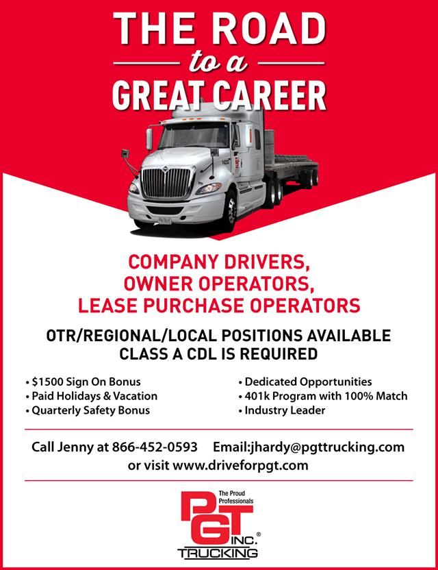 PGT Trucking Inc Is Hiring Flatbed Truck Drivers  1500 Sign On Bonus