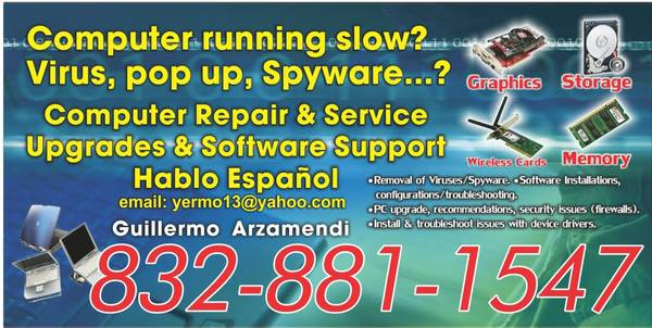 computer service just one call away ((I-10 EAST washington,290 west,Galleria,)