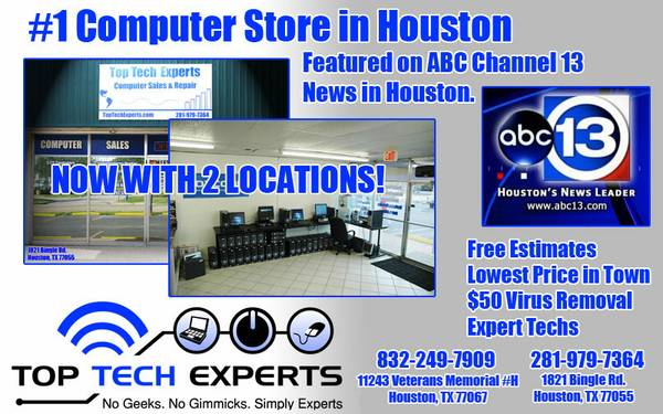 VOTED 1 COMPUTER SERVICE STORE in HOUSTON by ABC NEWS, FREE DIAGNOSTI (Houston)