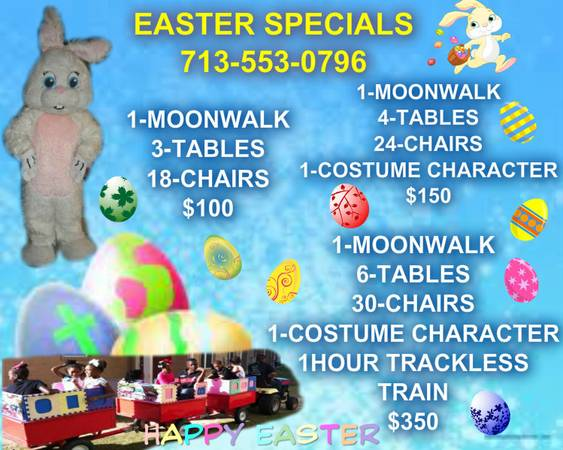 Easter specials moonwalks,trackless train and much more (houston )
