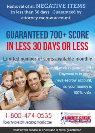 We Guarantee removal of all negative items off your credit report.