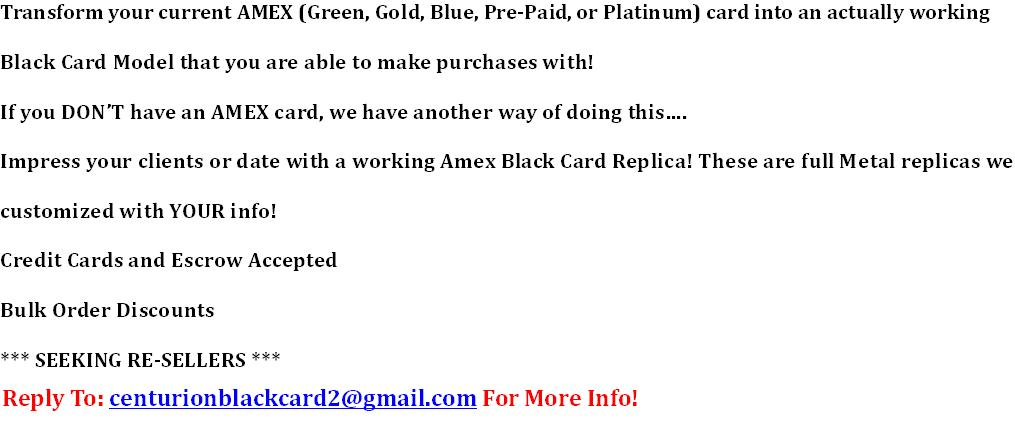 Centurion Black AMEX Card - Working Replica  Impress Your Customers