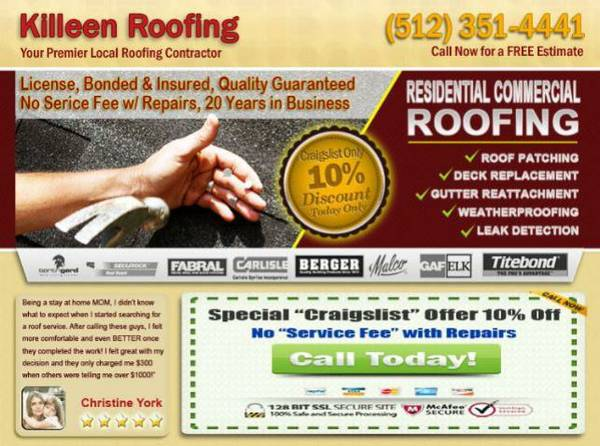ROOF SERVICE, REPAIR  Maintenance (KILEEN TX)