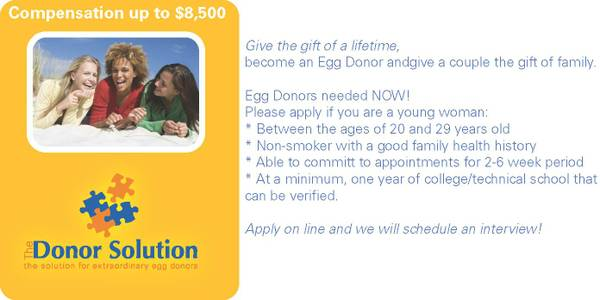 Egg Donors Needed  Compensation  5500 -  8500  Killeen-Temple
