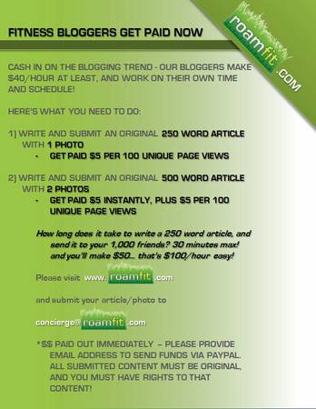 get paid to write about your fitness experience  Austin  TX