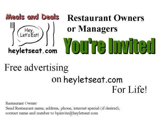Advertise your Restaurant  for FREE heyletseat com