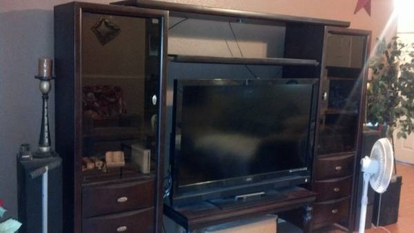 Solid Cherry Wood entertainment center with lights - $600 (salado )
