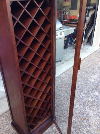 Tall wooden and glass Wine rack from pier one imports