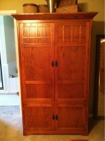 Oak armoire entertainment center - $120 (West Temple)