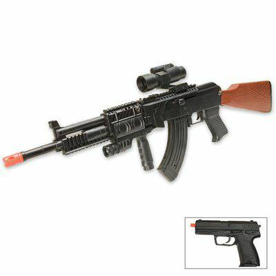 2 in 1 AK47 Airsoft Rifle w red laser, scope, LED light Free Pistol - $25 (Killeen)