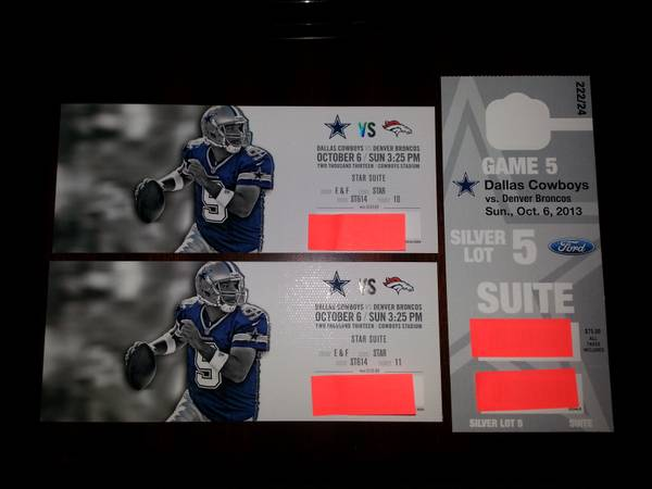 2 SUITE TICKETS DALLAS COWBOYS VS DENVER BRONCOS WITH PARKING PASS - $1000 (Killeen, TX - HARD TICKETS)
