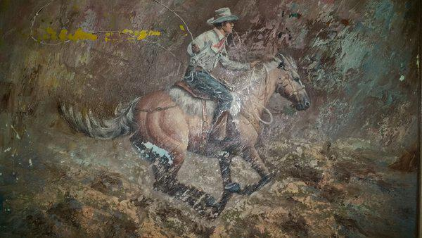 300  Vintage Cowboy Oil Painting Signed S  Salow