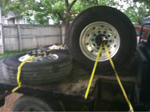 22.5 wheels tire and adapters - $2500 (Waco)