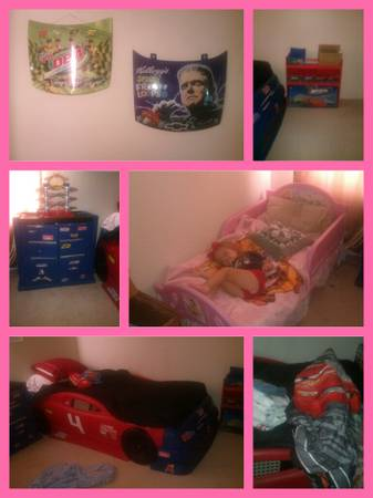 Car toddlertwin bed, tool box dresser, toybox, wall decor, bedding (Killeen)
