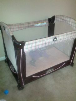 pink and brown pack n play - $40 (temple)