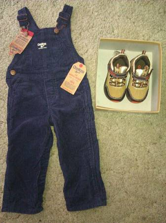 New OSH KOSH corduroy overalls (12mos) shoes (5m) - $25 (Killeen)