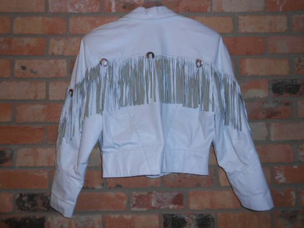 White Leather Fringe Ladies Jacket - $30 (Harker Heights)