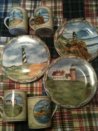 Lighthouse plates and cups - $25 (Moody, tx)