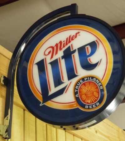 MILLER LITE SIGN WALL MOUNT DOUBLE SIDED LIGHT UP BEER ADVERTISING - $125 (BELTON)