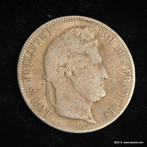 1833T France Silver 5 Francs Coin Louis Phillippe I