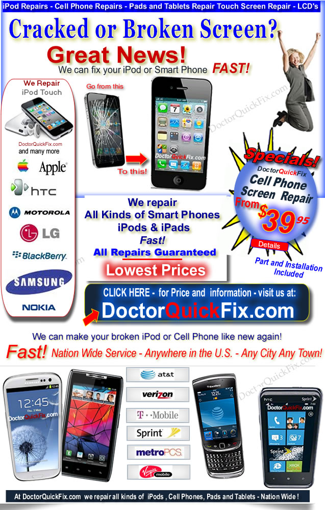 Cell Phone Repair - Cracked or Broken Cell Phone Screen - Fast Repairs from $49.95 -