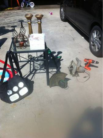 Cabinet, shower curtain, weedeater, skill saw, table, breast pump jackets - $1 (Killeen)
