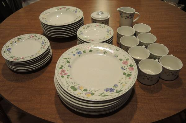 Farberware Stoneware English Garden 43pcs. Service for 8. - $40 (Temple)