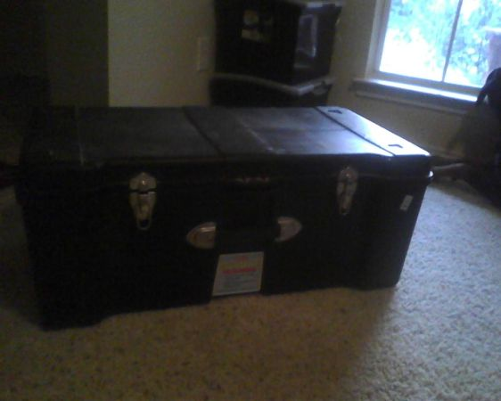 Tuff Box, storage container, plastic footlocker -used to ship apo-ae (Harker Heights)