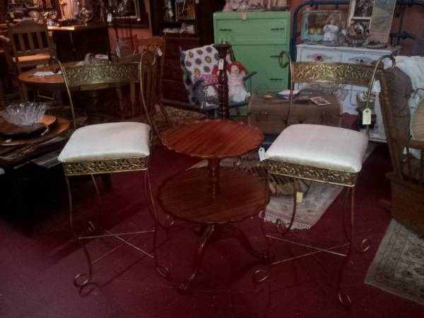 BEAUTIFUL PAIR OF IRON BARSTOOLS WITH SILK COVERED SEATS - $175 (ROOSTERS ANTIQUE MARKET)