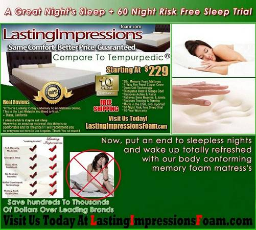 memory foam Beds Less Than Stearn  Foster - $223 (No Cost Postage)