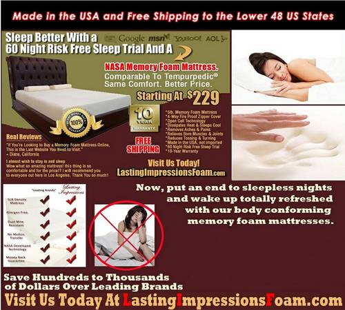 memory foam Beds Comparable To Stearn  Foster - $237 (NO COST SHIP)