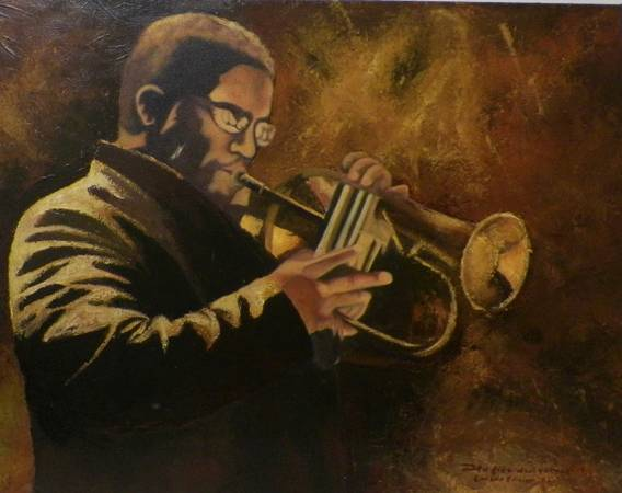 Man Playing Jazz Music with his Horn Painting by Hafies DwiP -   x0024 175  youngsville