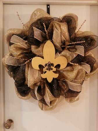 Saints Deco mesh door wreath - $65 (Lafayette Jockey Lot Booth 160)