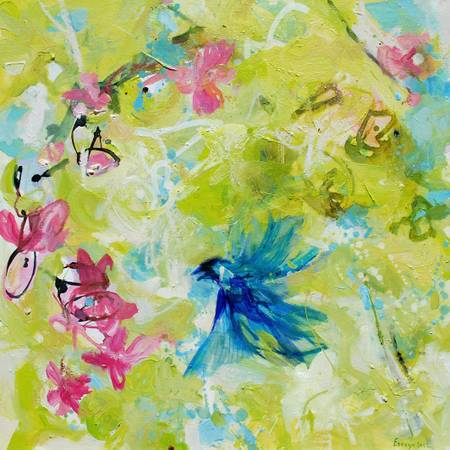 Happy Bird With Pink Flowers Painting by Alba Escayo -   x0024 700  youngsville  la