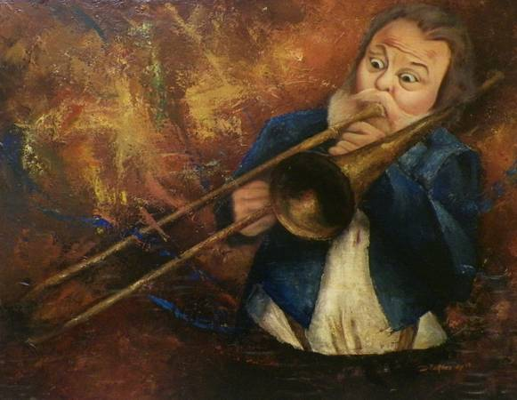 Jazzy Trombone Triumph Oil Painting by Hafies DwiP -   x0024 175  youngsville
