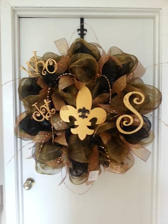 Saints Deco mesh door wreath - $55 (JOCKEY LOT BOOTH 160)
