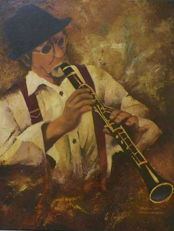 Jazz Man Playing a Clarinet Oil Painting by Hafies DwiP -   x0024 175  Youngsville  La