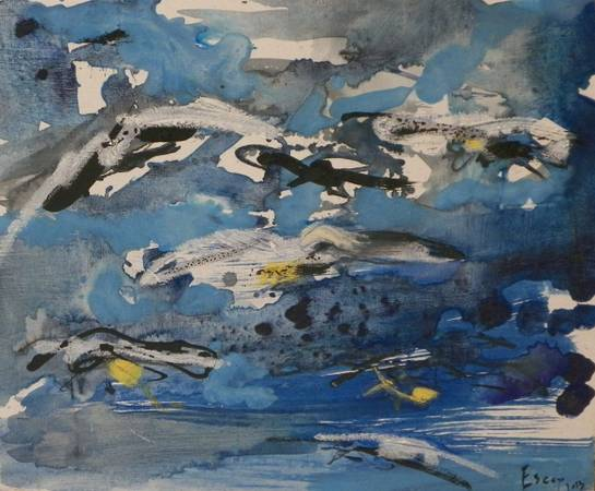 Abstract In Blue and Black Painting by Alba Escayo -   x0024 375  youngsville
