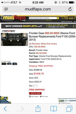 Frontier Front bumper for F-150, same as ranch hand - $480 (lafayette)